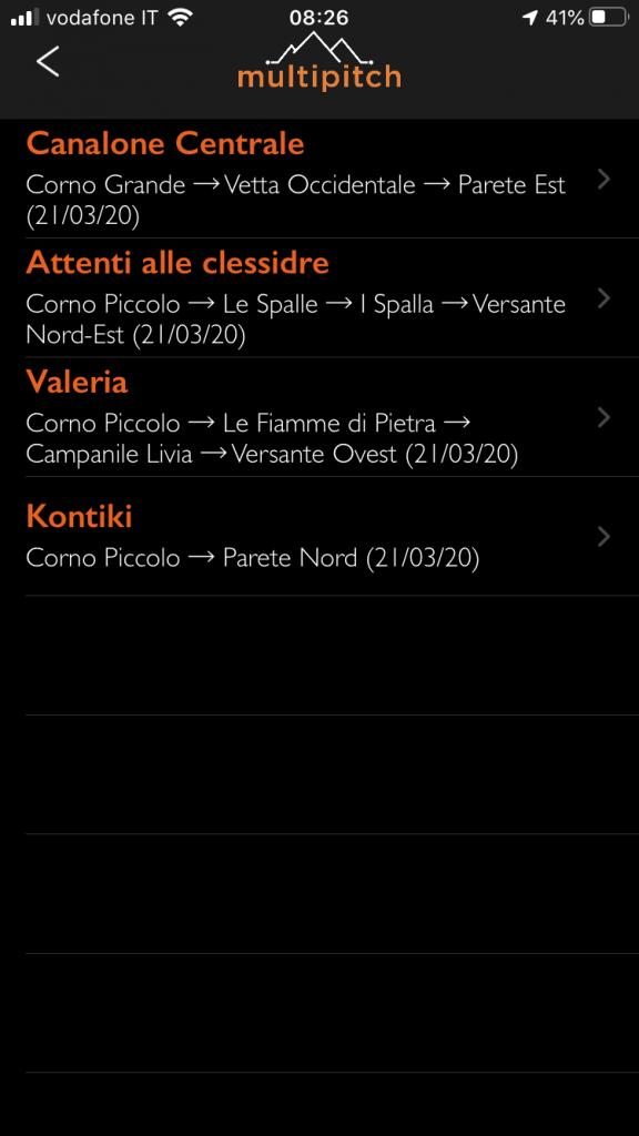 Elenco vie disponibili offline multipitch.app