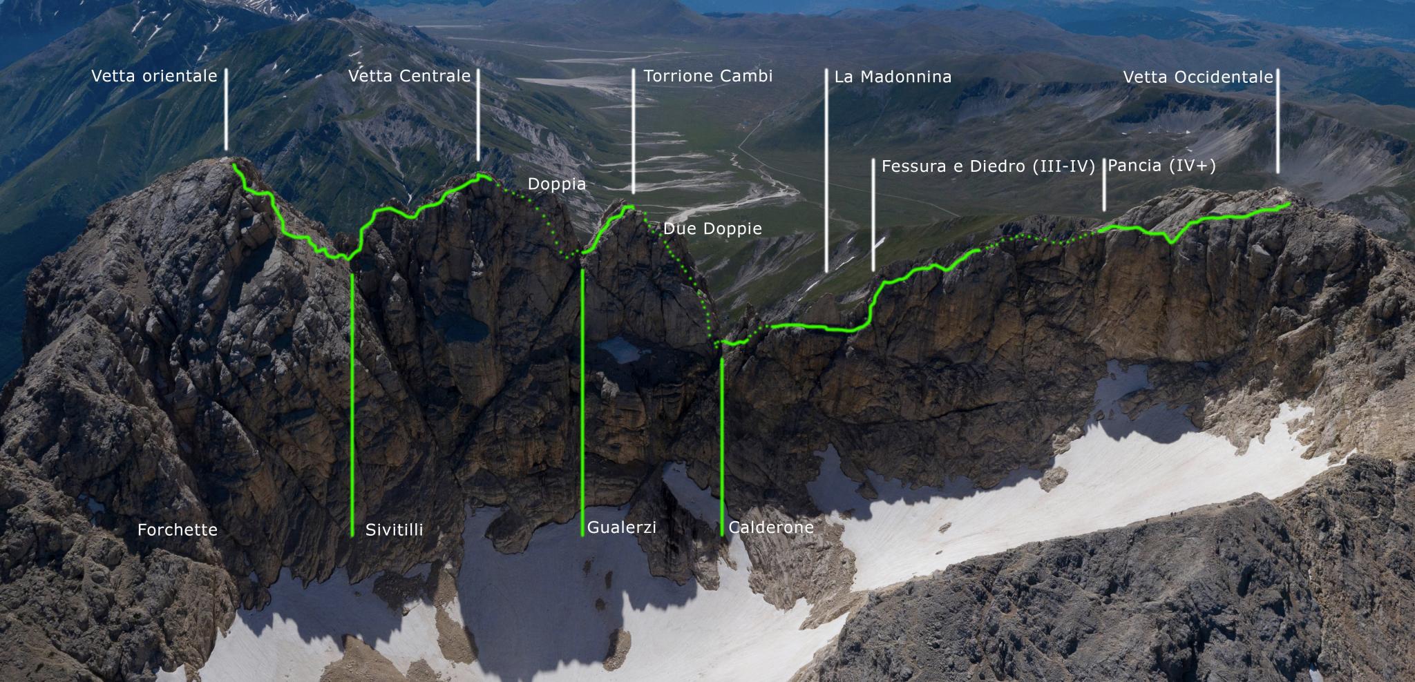 traversata quattro vette del Corno Grande del Gran Sasso